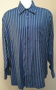 NWOT Bugatchi Uomo Women's Navy Blue Aqua Pink Striped Button Dress Shirt XL | eBay