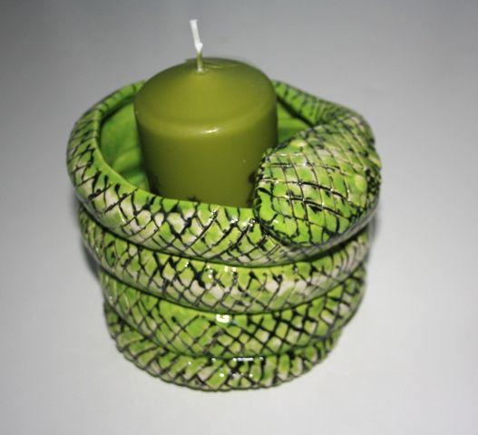 Handmade Ceramic Snake Candle Holder