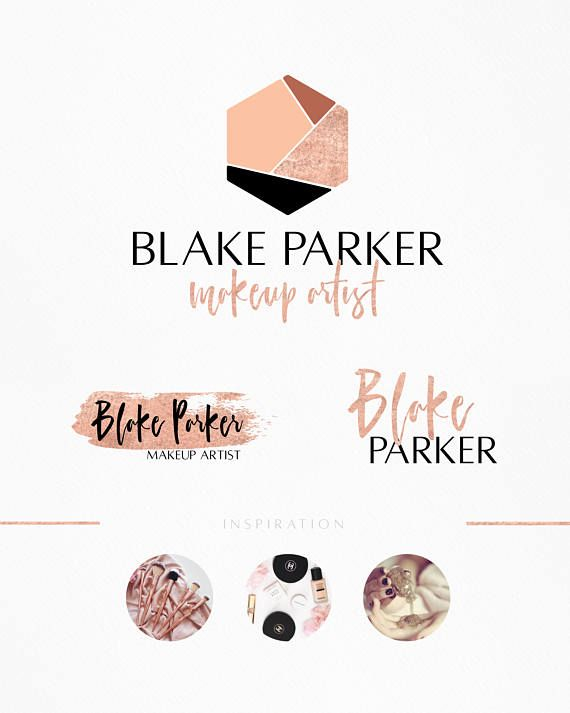 Rose Gold Makeup Artist Logo Powdered Gold Logo Shimmer Rose