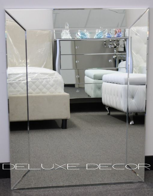 Elegant Bevelled Mirror Frame Glass on Glass Wall Mirror 0343 (900 x 700 mm) http://deluxedecor.com.au/products-page/wall-mirrors/bevelled-frameless-glass-on-glass-wall-bathroom-mirror-0343-800-x-600-mm/