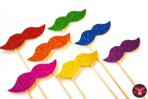 Photo Booth Props  - Rainbow Glitter Mustaches on a Stick - Set of 7 - Rainbow Mustaches. $21.00, via Etsy.
