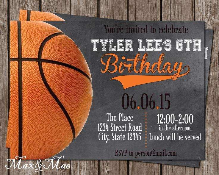 Basketball Birthday Invitation, Basketball Party, Sport Birthday Invite, Sport Theme, Chalkboard, Digital, Printable by MaxandMaeInvites on Etsy https://www.etsy.com/listing/234151274/basketball-birthday-invitation