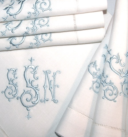 beautifully monogrammed table linens