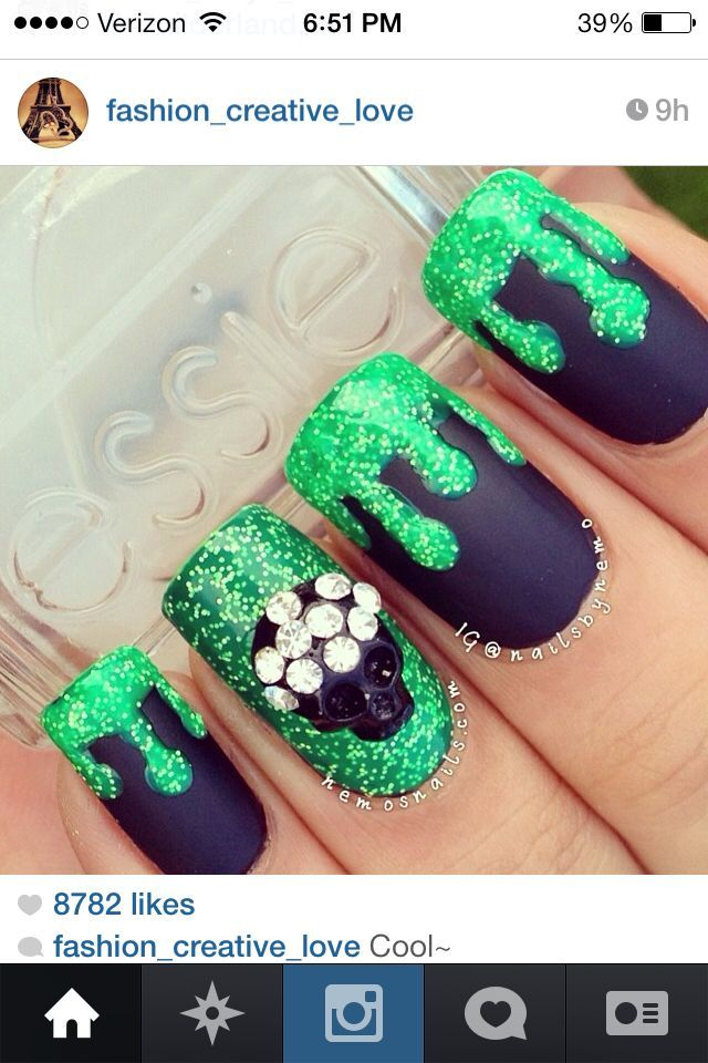 Pretty nails love the dripping paint effect glitter takes it over the top !!!