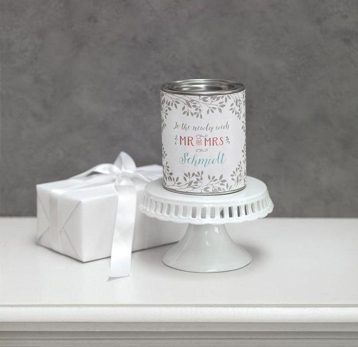 Freebie: Eine einfache Lackdose wird mit unserer Banderole zum Hochzeit Geldgeschenk