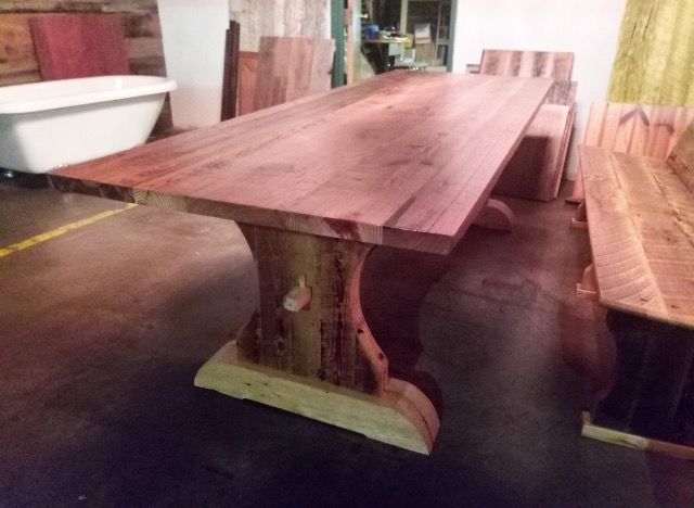 Reclaimed Saw Pine Table for sale!  #reclaimedwood #lumber #wood #salvaged #antiques #table #furniture   Visit us at www.salvageantique.net