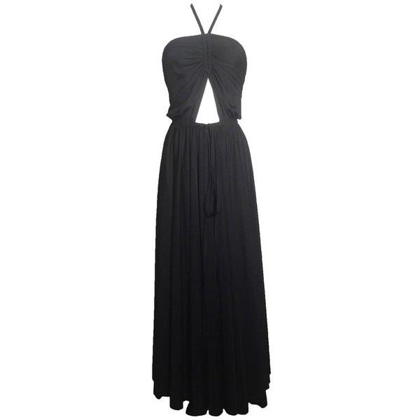 Preowned 1970s Adele Simpson Black Cut-out Jersey Maxi Dress ($395) ❤ liked on Polyvore featuring dresses, black, halter-neck maxi dresses, backless halter top, backless maxi dress, cut out maxi dress and halter cocktail dress
