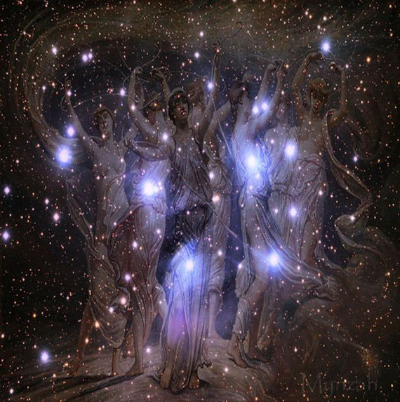 The constellation the Pleiades, otherwise known as the Seven Sisters. According to myth, seven beautiful sisters were constantly harangued and plagued dangers here on earth, so they were sent to live in the stars- finally at peace and together as one.