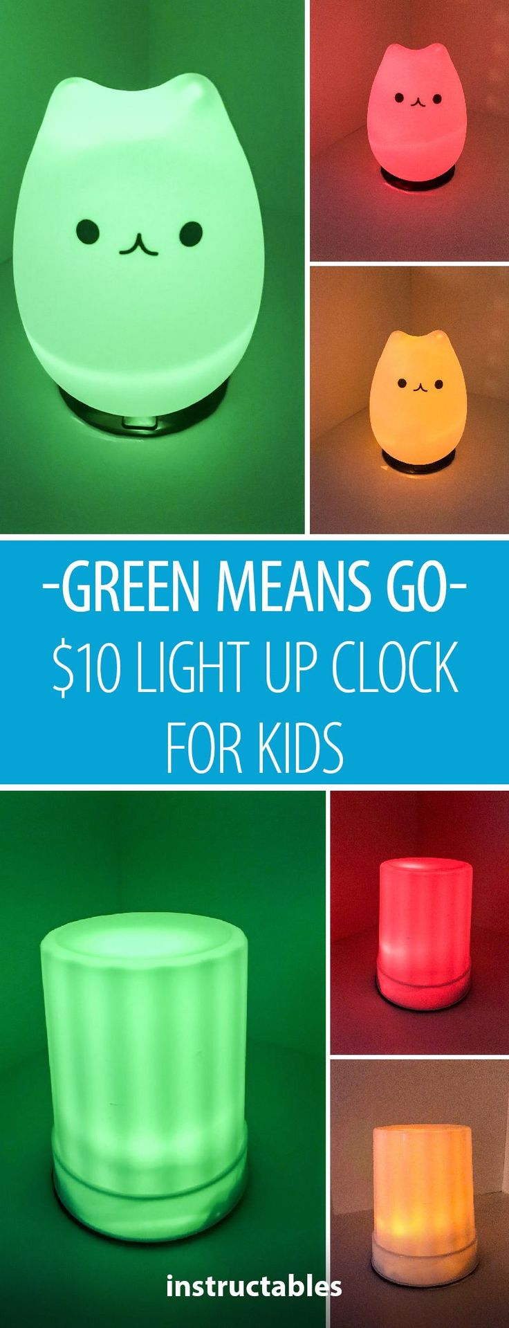 Light Up Clock for Kids Green Means Go! Red, Stay in BED