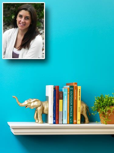 DIY Bookends: Cut a plastic toy animal in half, glue it to metal bookends, and paint them both.