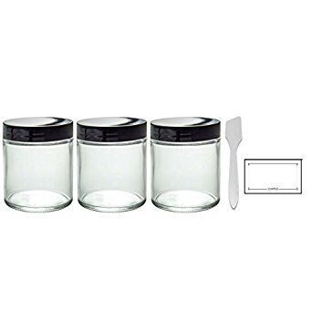 Amazon.com: Clear Thick Glass Straight Sided Jar - 4 oz / 120 ml (3 pack) + Spatulas and Labels: Industrial & Scientific