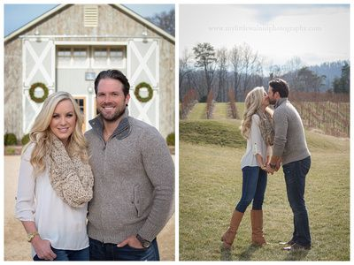 Engagement Pictures. Taken by My Little Walnut Photography in Lynchburg, Virginia. Cute Poses. Inspiration for what to Wear. Fall or Winter Fashion.