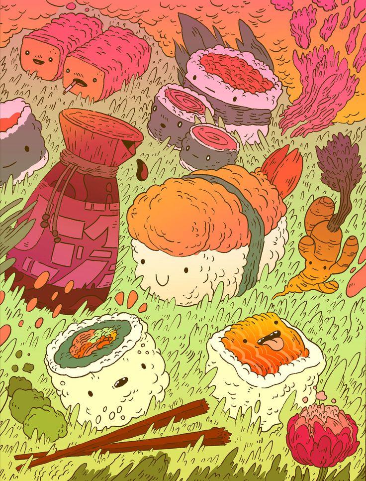 SUSHI ROLL .jpg (With images) Art, Art prints, Garden art