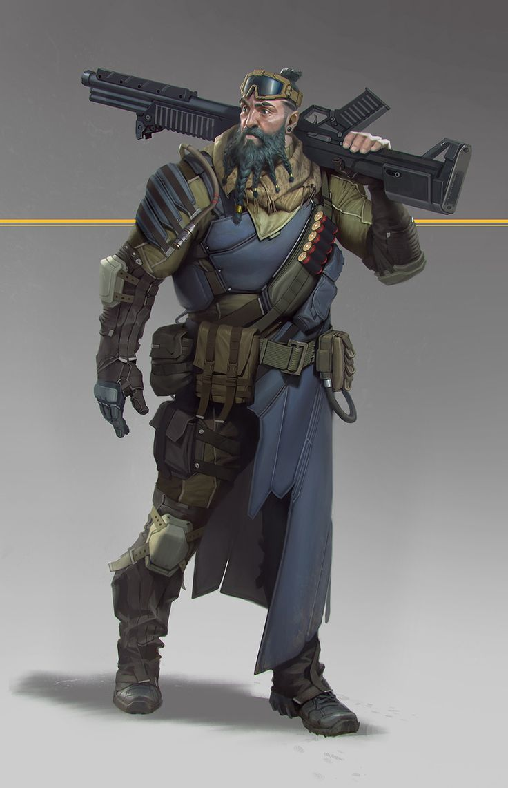 soldier with shotgun, Jianli Wu on ArtStation at https://www.artstation.com/artwork/V0raZ