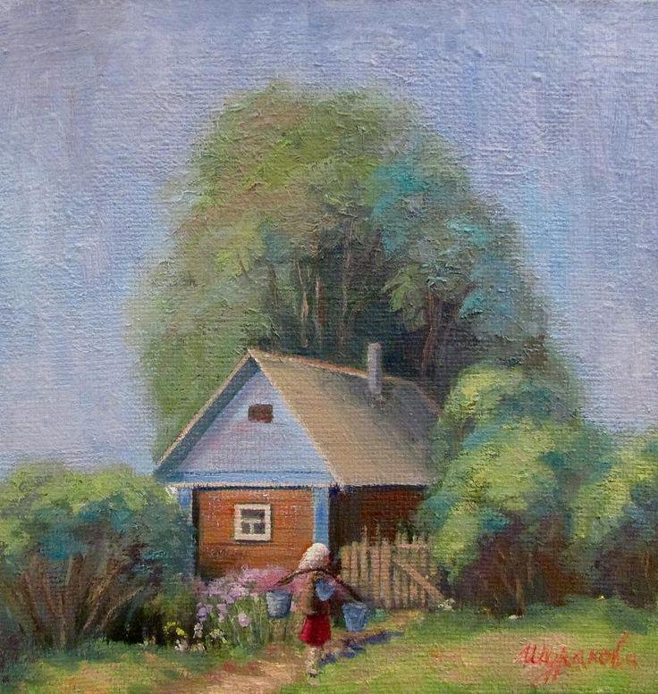 #Summer, #sun, #countryside, #grass, #trees, #house, #figure, #people, #water, #bushes, #painting, #landscape, #hot, #Russianartist, #Russianart, #print, #annashurakova, #August