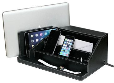 All-in-One Charging Station, Black Leatherette contemporary-charging-stations