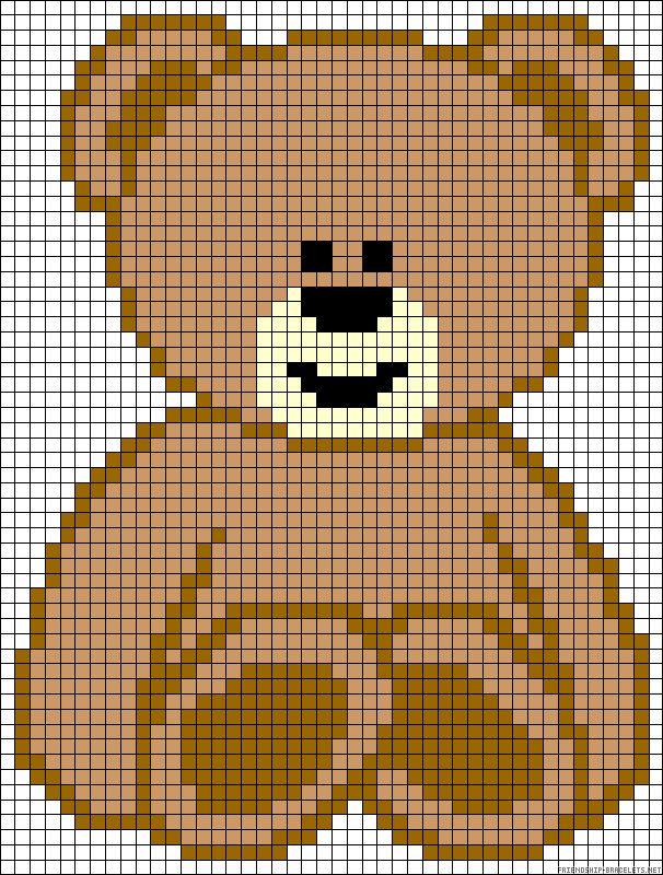 Teddy bear hama perler bead pattern