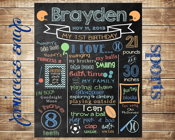 First Birthday Chalkboard - 100% CUSTOMIZED Poster Sign for Birthday Parties Printable File - Sports - Baby's First Birthday - Boy or Girl