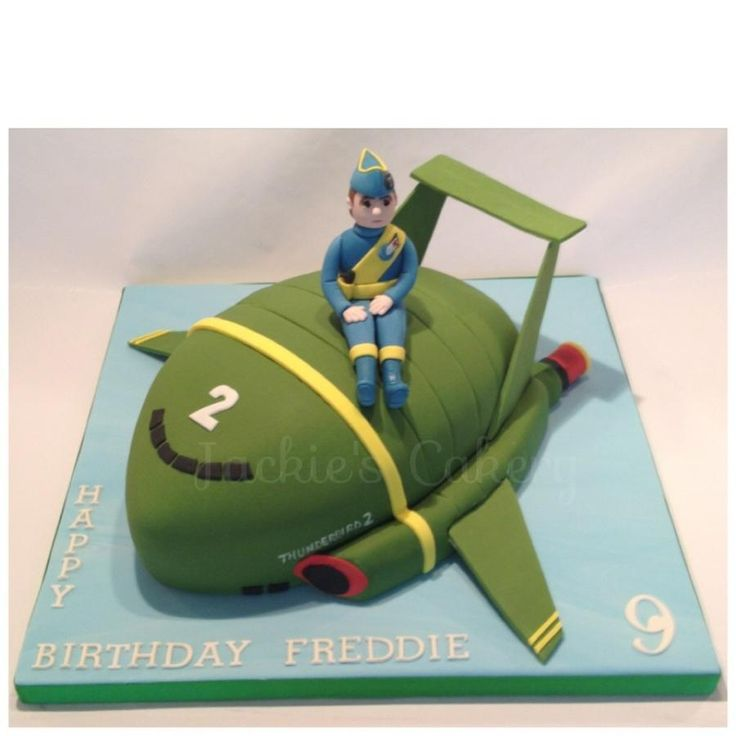 This was a really fun cake to make, I loved Thunderbirds when I was a kid! Vanilla cake with buttercream & jam.