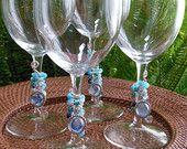 Set of 4 Nautical Beaded Wine Glasses
