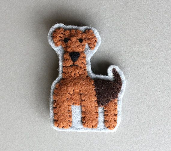 Airedale Terrier Dog Brooch Felt Pin  Alastair by myhideaway, $20.00