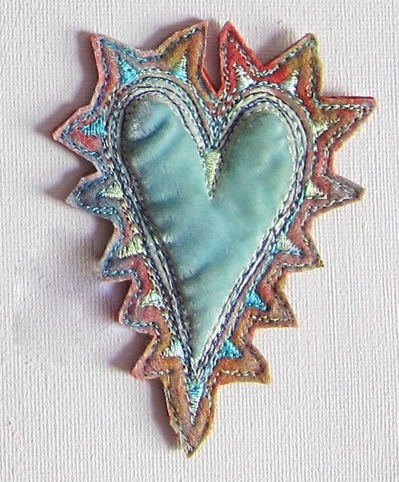 Spiky Heart Brooch by JackieCardytextiles on Etsy, $30.00