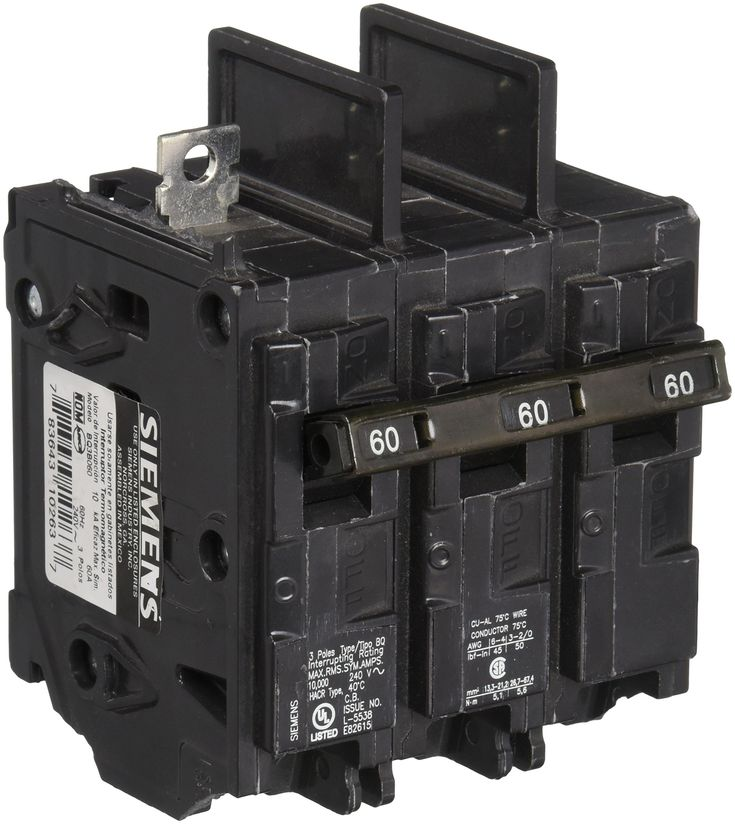 Siemens Bq3b060 60 Amp Three Pole 240 Volt 10kaic Lug In Lug Out Breaker For More Information Visit Image Link This Is An Affiliate Link Siemens Breakers