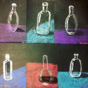 5th Grade glass bottles #crayolachalk #stilllife #reflections #blickartmaterials #artteacher #artteacherlife #5thgrade #artlessons #drawing #laart