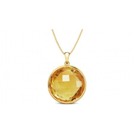 Golden Sun Citrine Pendant - Rs.8,030 @ CherryTin.  Round citrine pendant reflecting the golden light of the 18k yellow gold casing.
