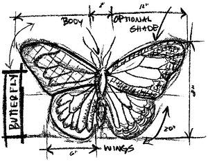 Tim Holtz Rubber Stamp BUTTERFLY SKETCH Stampers Anonymous U1-2067