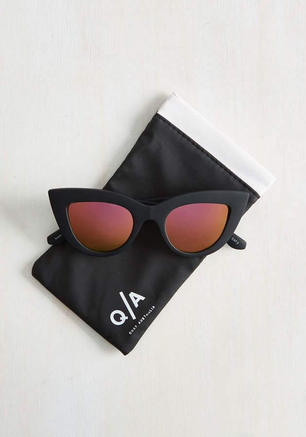 Womans Spring Kitti Sunglasses in Noir Black by Quay from ModCloth