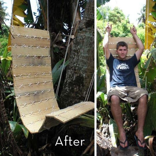 Wooden pallet turned into an outdoor swing chair.  Looks like its slats are held (sewn) together with rope. For more details, visit Styleichic.