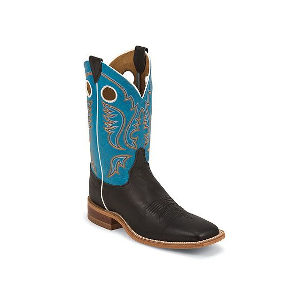 Justin Boots Bent Rail BR311 11 Boots ($200) ❤ liked on Polyvore featuring men's fashion, men's shoes, men's boots, mens cowboy boots, mens slip on boots, mens slip on shoes, mens pull on boots and mens western boots