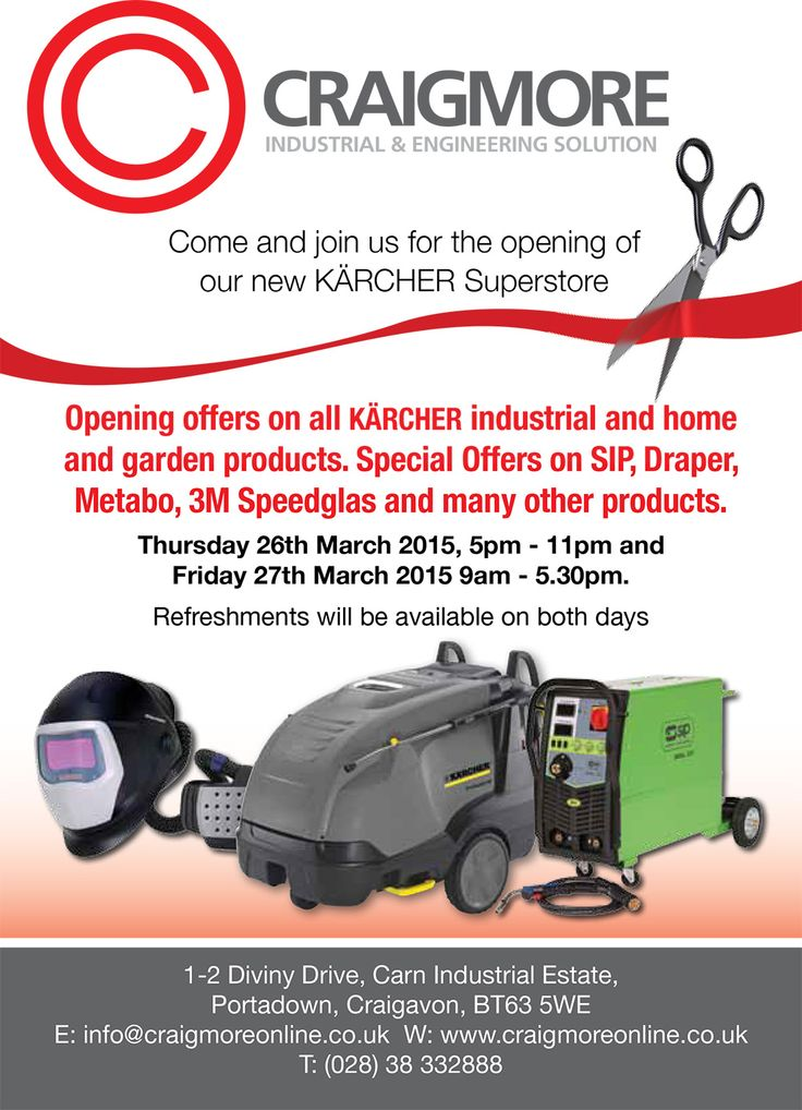 We are opening our new Karcher Superstore on Thursday 26th March and everyone is welcome. Many offers available and refreshments will also be available over the 2 day event.