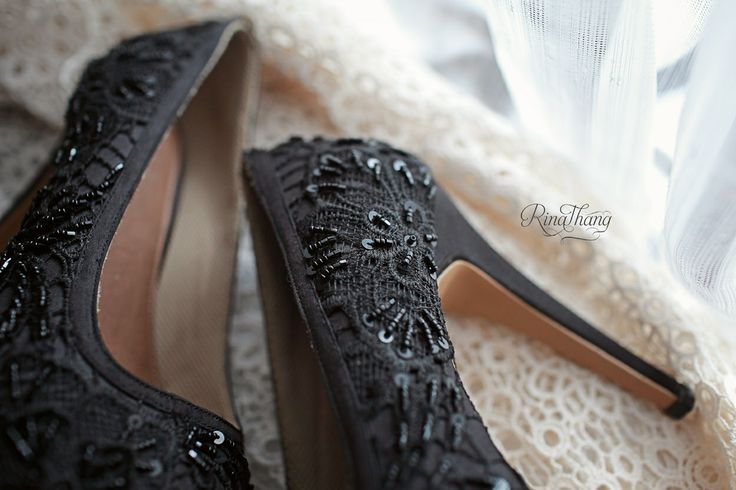 Black sequin pearls... Black heals.. By rinathanghoes @rinthangshoes