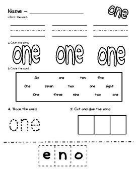 These are printable pages that will help introduce and teach the number words.   Write the word, color the word, find the word, trace the word, and cut and glue the word for all numbers 1-10  Enjoy!  Feel free to pin!  Happy number word teaching! -FIRSTgradeisaHOOT