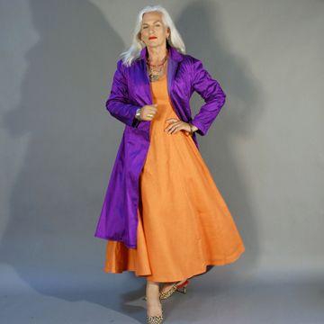 "Carolyn Cowan modeling her own ""swagger coat"""