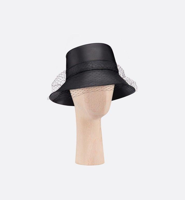 Teddy D Large Brim Bucket Hat With Veil Black Lambskin Accessories Women S Fashion Dior Womens Fashion Accessories Hats Hat With Veil