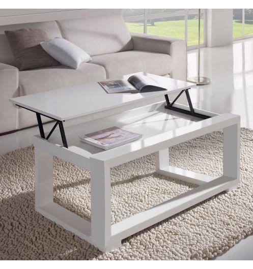 Table basse relevable plateau blanc et cadre blanc - mobilier salon
