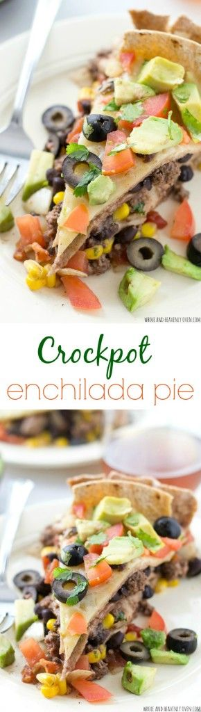This slow-cooked stacked enchilada pie cooks up entirely in the crockpot and is the perfect busy weeknight comfort food! @WholeHeavenly