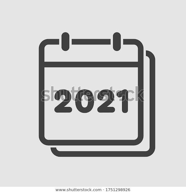 Vector Icon Calendar Year 2021 Vector Stock Vector Royalty Free 1751298926 In 2020 Vector Icons Stock Vector Yearly Calendar
