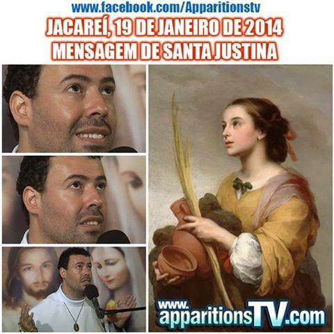 """VÍDEO - JACAREÍ, 19 DE JANEIRO DE 2014 - MENSAGEM DE SANTA JUSTINACONTENDO:  SACRATÍSSIMO ROSÁRIO MEDITADO EXIBIÇÃO DO FILME """"VOZES DO CÉU 7"""" AS APARIÇÕES DE POINTMAN (FRANÇA) 1871 MEDITAÇÃO SOBRE A VIDA DE SANTA JUSTINA E SÃO CIPRIANO APARIÇÃO E MENSAGEM DE SANTA JUSTINA   #APPARITIONS.TV"""
