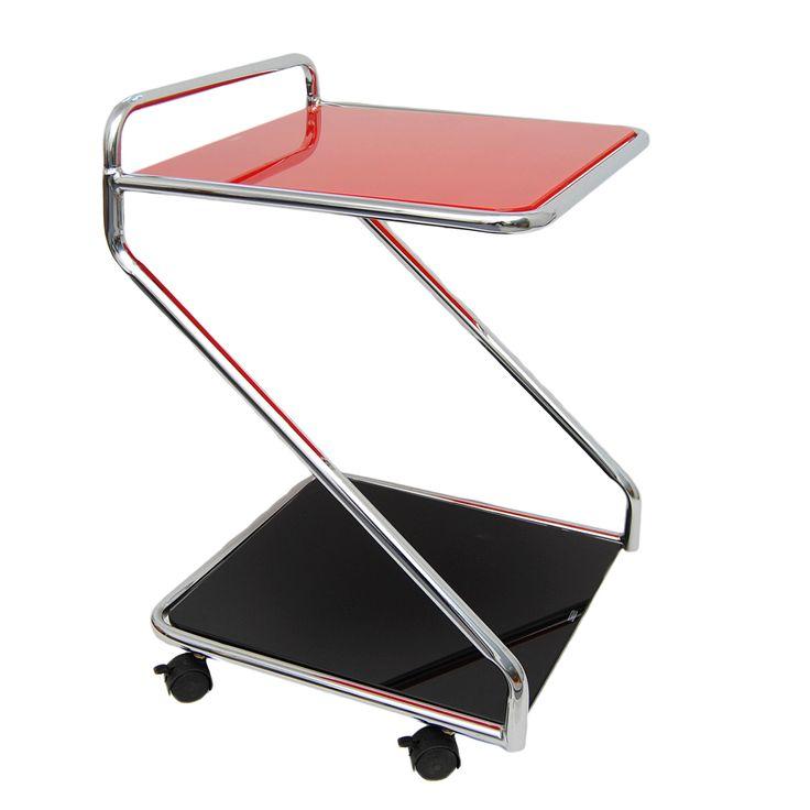 Eck-Beistell-Glastisch-Servierwagen-Rollwagen-Rot-Schwarz-mit-Edelstahl-ESG-Glas