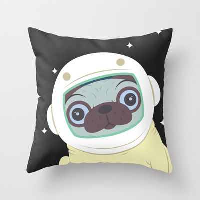 Pug in Space Throw Pillow by Hoborobo - $20.00