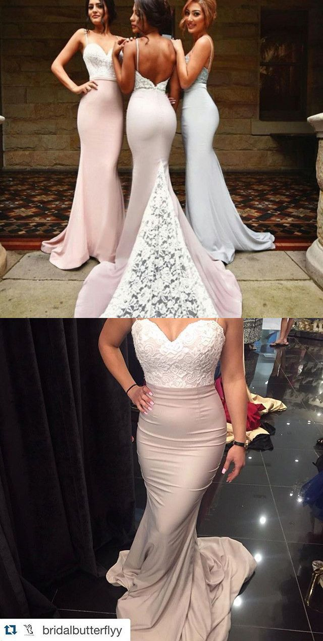 Elegant Long Spaghetti Mermaid Bridesmaid Dress/Party Dress with White Lace