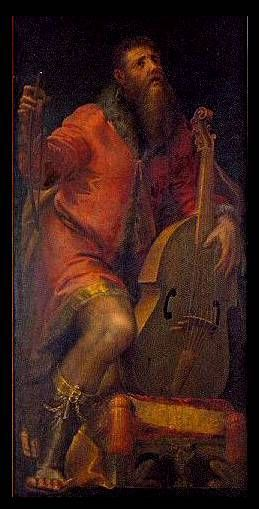 Viol player, from organ-case doors at Parma Cathedral, Italy. Girolamo Mazzola Bedoli, 1562.