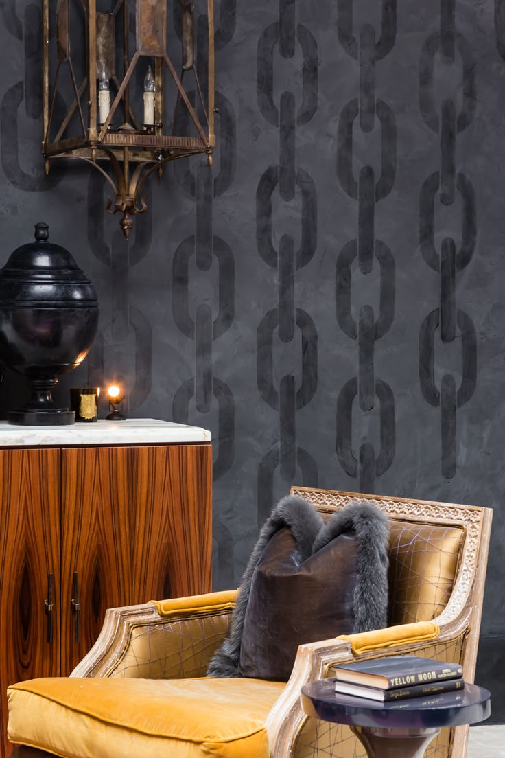 Sophisticated Black Plaster Chain Link Pattern Wall Finish By Decorative Artist Caroline Lizarraga Modern Masters