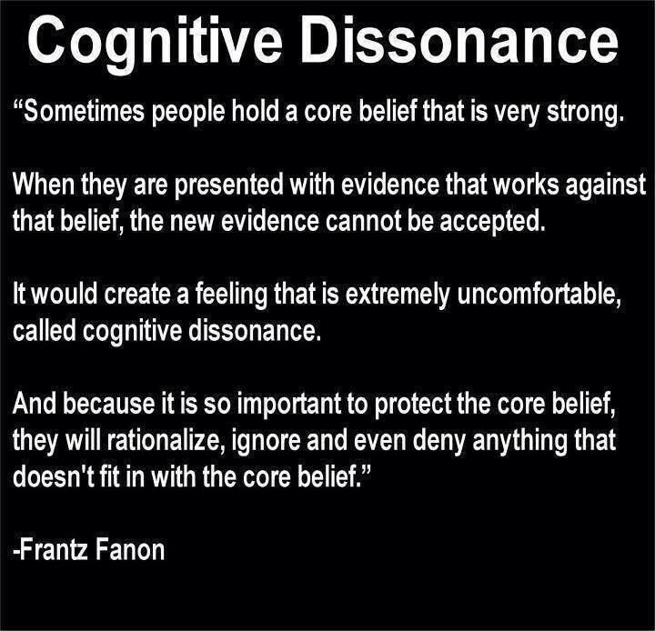 Almost half a century ago social psychologist Leon Festinger developed the cognitive dissonance theory (Festinger, 1957). The theory has obviously stood the test of time... the pervasive human tendency to rationalize. http://web.mst.edu/~psyworld/cognitive_dissonance.htm