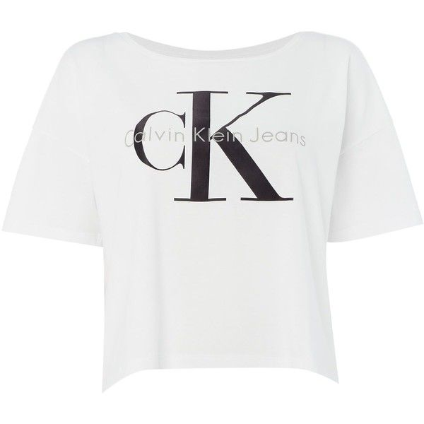 Calvin Klein Short Sleeve Re-issue Logo t-shirt (79 AUD) ❤ liked on Polyvore featuring tops, t-shirts, shirts, white, women, white cotton t shirts, tee-shirt, white cotton shirt, logo t shirts and short-sleeve shirt