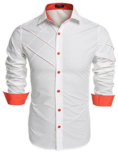 Coofandy Men's Fashion Slim Fit Dress Shirt Long Sleeve C...
